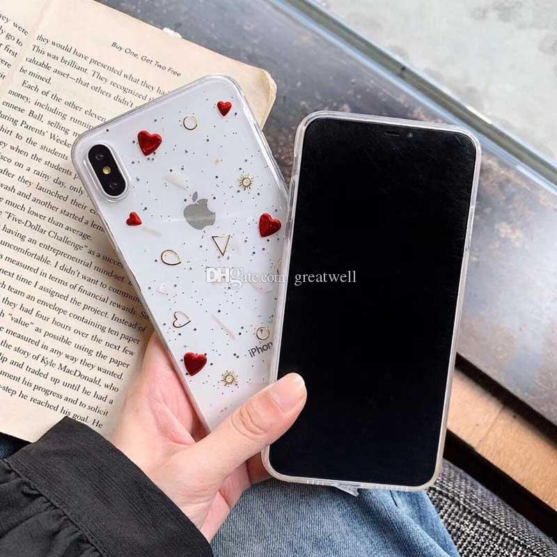 For iPhone 11 Pro Max XR XS Max 6 6S 7 8 Plus Electroplated Heart Star Glitter Soft Epoxy Clear Back Cover