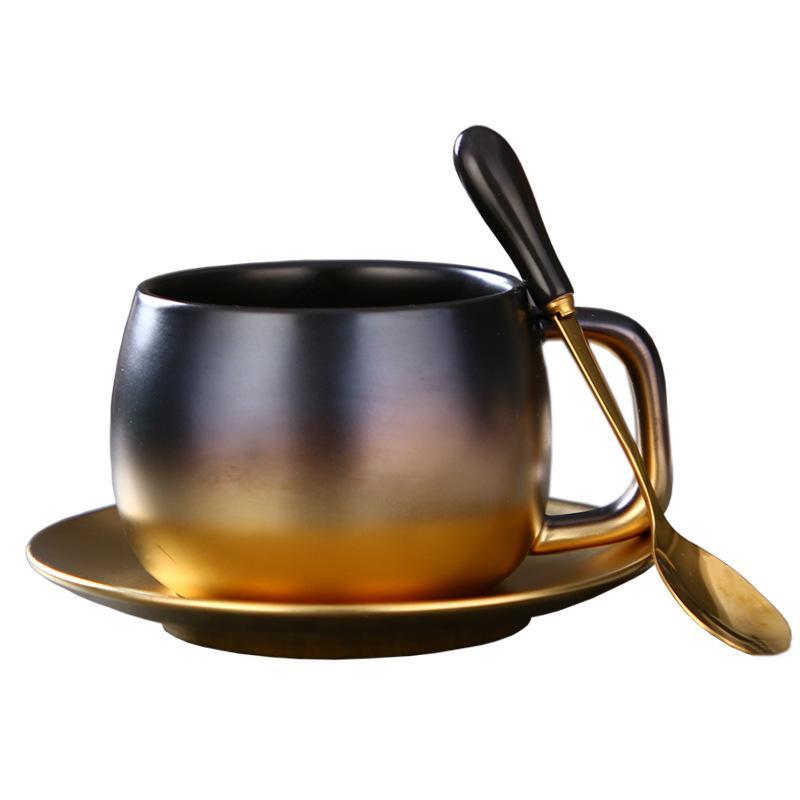 Luxo Buraco Negro Estilo Novo Matt Preto Ouro Champanhe Copo de Café Conjunto de Mesa Decoração de Viagem Exclusivo Casal Xícaras de Chá e Canecas
