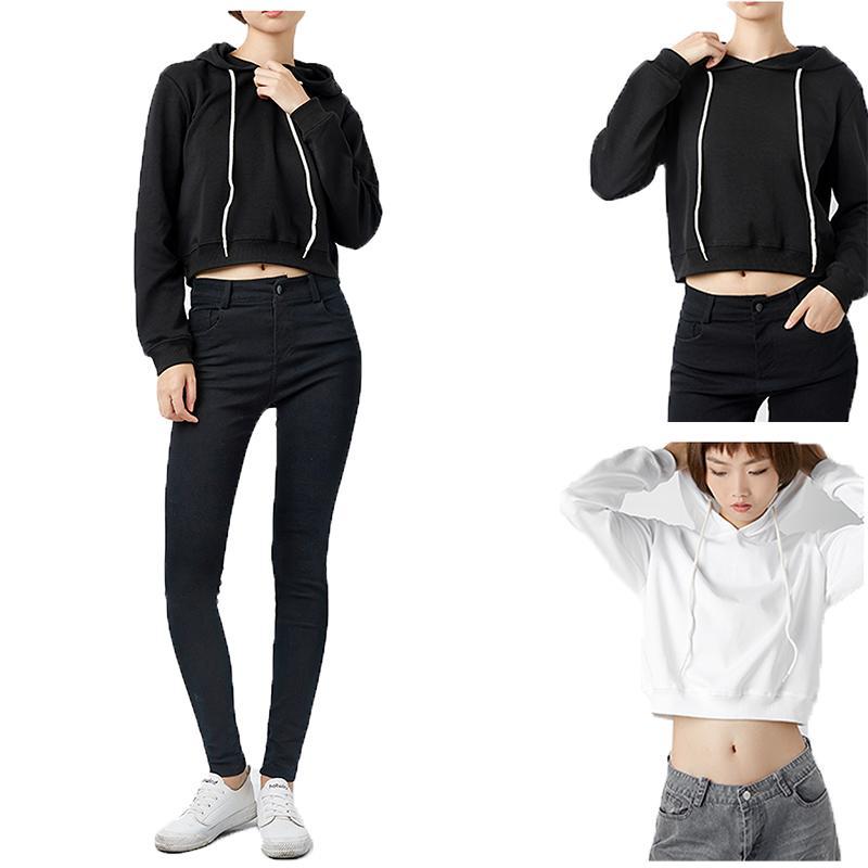 New Mulheres Plain Hoodies Top Curto cor sólida manga comprida senhoras moletom com capuz Verão Outono Fashion Girl Moletons Vestuário