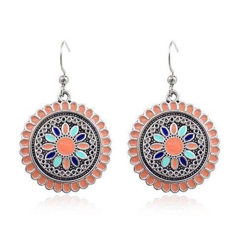 Bohemian Earrings Daisy Pattern Multi Color Enamel Metal Dangle Earrings For Womens Girls Fine Jewelry Gifts