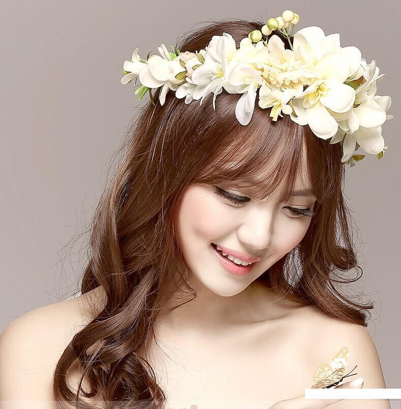 New Women Wedding Rose Flower Wreath headband Kids Party Floral garlands with Ribbon Adjustable flower crown Hair Accessories