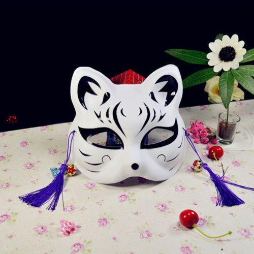 Half Face Fox Mask Japanese Animal Hand-painted Kitsune Halloween Cosplay Party Supplies Girls Halloween Costume