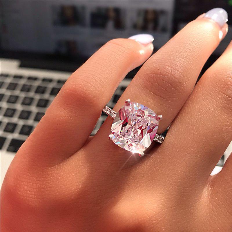 Vecalon Fine Promise Anel 925 sterling Silver Cushion corte 7mm Diamantes cz Anéis Da Banda De Casamento De Noivado Para As Mulheres Jóias