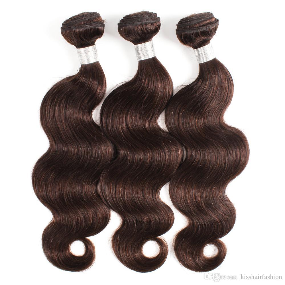 لون # 2 موجة الجسم الشعر البشري حزم 3 قطعة / الوحدة أحلك البني قبل اللون ريمي الهندي البرازيلي التمديد بيرو