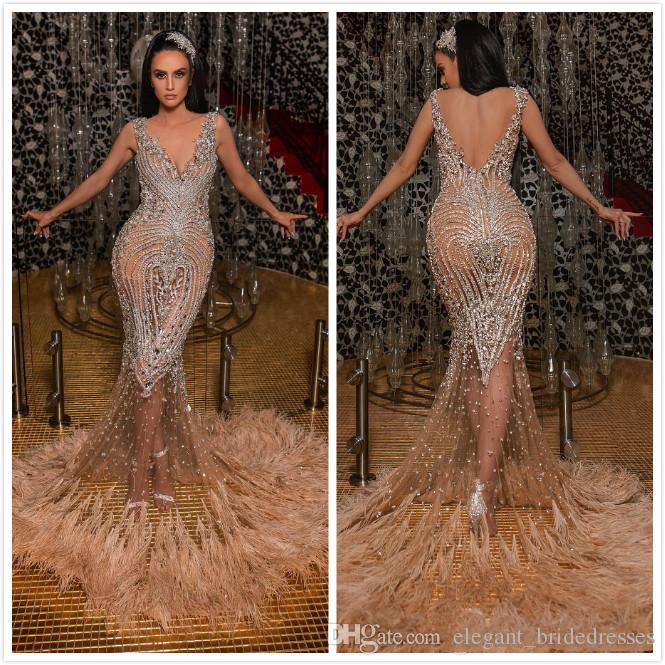 2020 Sexy Illusion Feather Mermaid Prom Vestidos Backless frisada de cristal Lantejoula Cocktail Party Dress Sweep Trem Tulle Mesmo