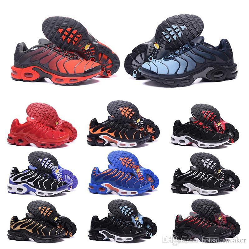 Nike air max tn Sıcak Üçlü Siyah Beyaz Turuncu erkek Koşu Ayakkabı kadınlar için açık ayakkabı mavi kırmızı koşucular Erkek Eğitmenler koşu Sneakers boyutu 40-46