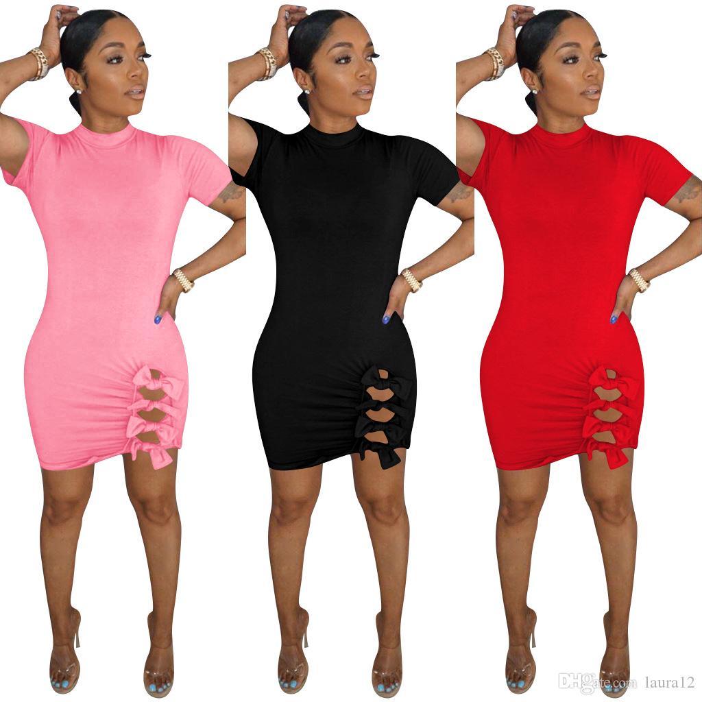 Più nuove donne solide Vestito aderente 2020 abito manica corta primavera-estate dell'arco laterale di disegno della signora sexy del partito della casa di mini alta qualità 3 colori