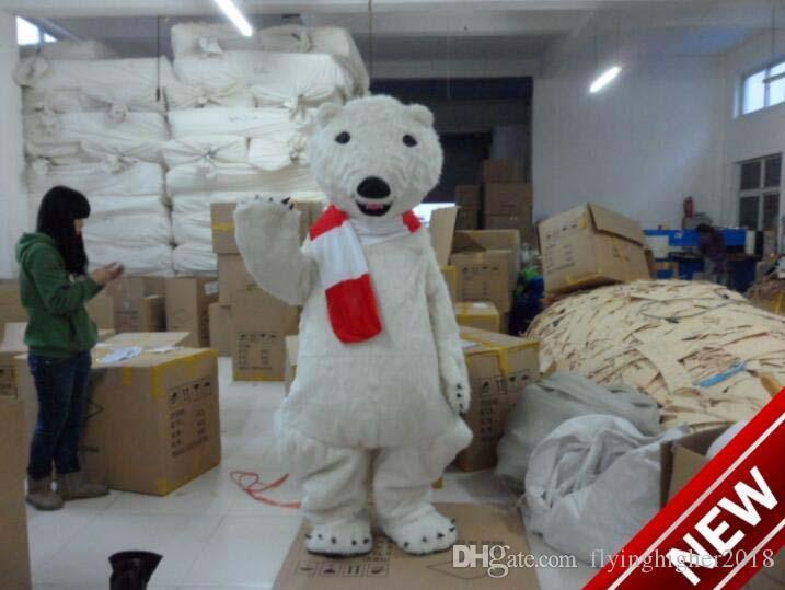 Professional custom red scarf Polar Bear Mascot Costume cartoon white bear character Clothes Halloween festival Party Fancy Dress