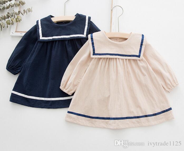 INS Vestido Da Menina do bebê Primavera Outono crianças Simples Estilo Do Exército crianças manga longa Grande Turn Down Collar Menina Elegante vestido de Princesa