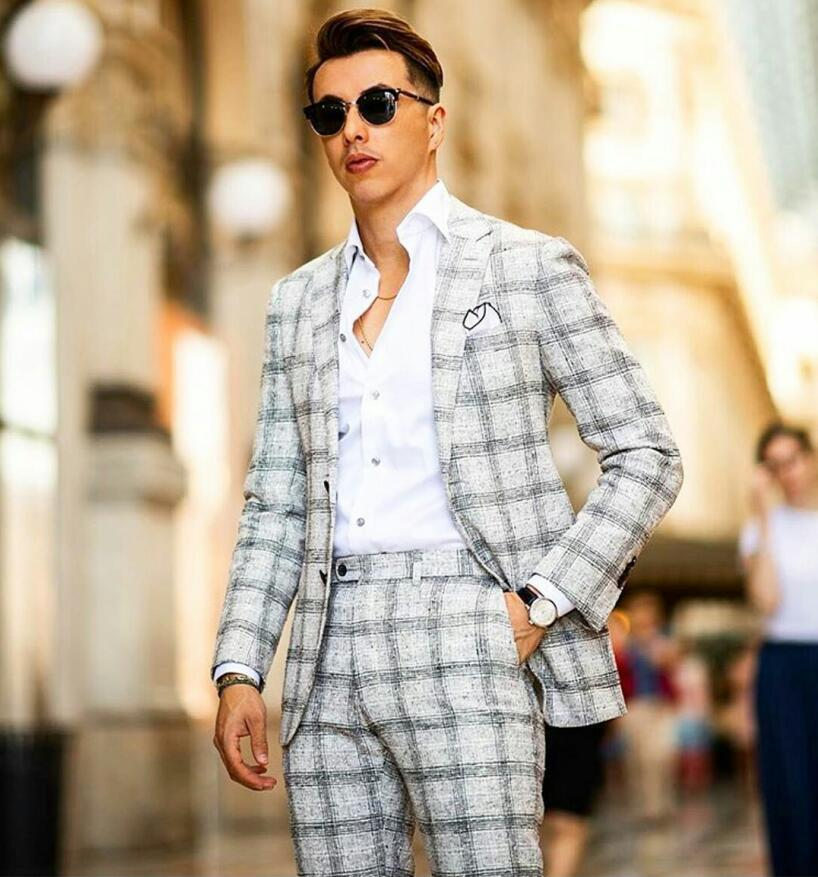 Gli ultimi uomini del progettista Suits due pezzi (giacca sportiva + pant) smoking nero con intaglio Lapel Due pulsanti Lino sposa abiti da uomo