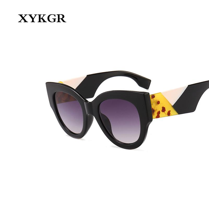 XYKGR Hot Marque monture ronde Lunettes de soleil rétro femme Lunettes de soleil mode dégradé sauvage UV400
