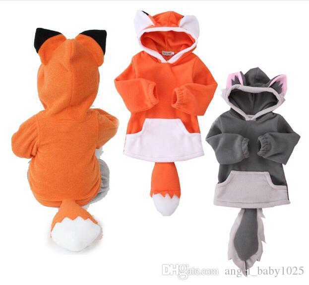 Neue Kinder Kopf 2 Farbe Pullover Explosion Modelle Baby Kinder niedlichen Tierform Fuchs Kapuzenpullover mit langen Ärmeln
