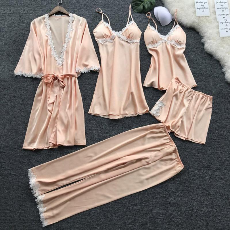 여성 잠옷 5PCS 공단 잠옷 세트 Pijama 실크 홈 착용 자수 수면 라운지 2020 파자마와 가슴 패드 파자마 팜므