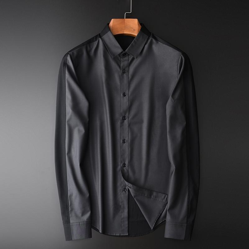 Контрастный цвет Мужские рубашки роскошные шелковые ткани с длинным рукавом Мужские рубашки плюс размер 4xl тонкий бизнес повседневная мужская рубашка