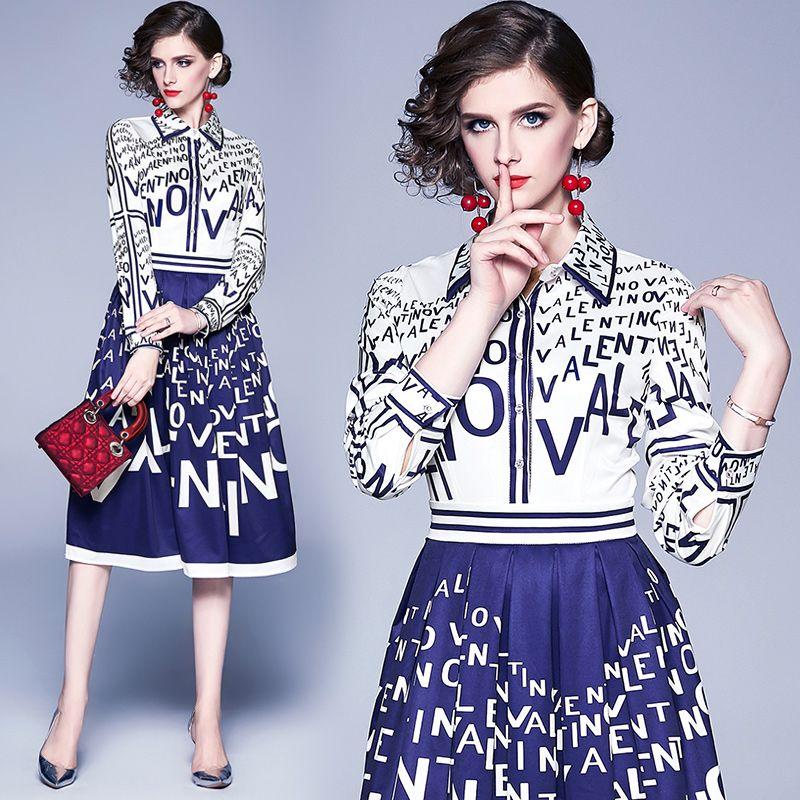 Womens Dress Stampato a maniche lunghe 2020 Boutique Girl Dress Elegant Lady primavera dei vestiti da autunno Vestito longuette Moda
