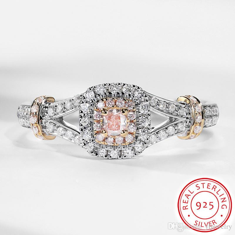 Cute Romantic Female Princess Pink Stone Ring Original Solid 925 Silver Jewelry Fashion Luxury Promise Engagement Rings Gift Box XR274