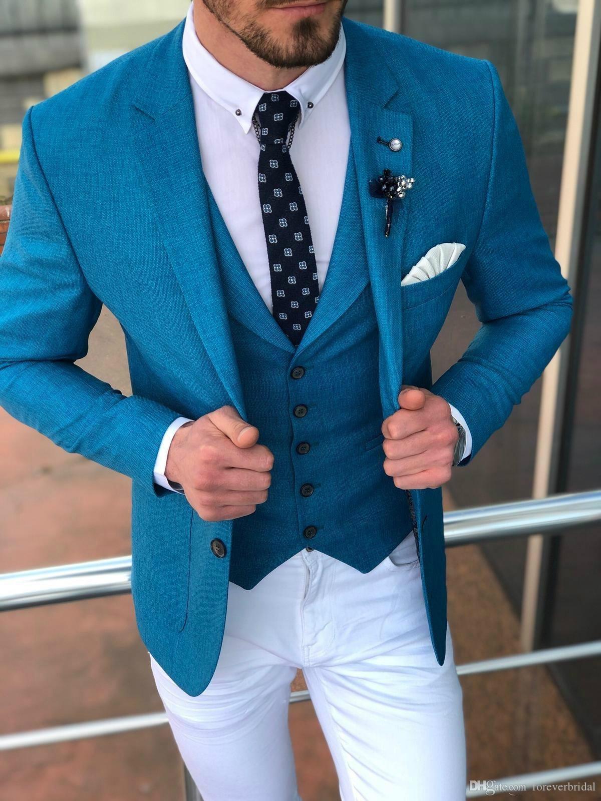 Novos Noivos Smokings De Smoking Azul Elegante Dois Homens De Botões Fatos Formais Bonitos Que Os Melhores Homens Usam Para O Casamento (Casaco+Colete)