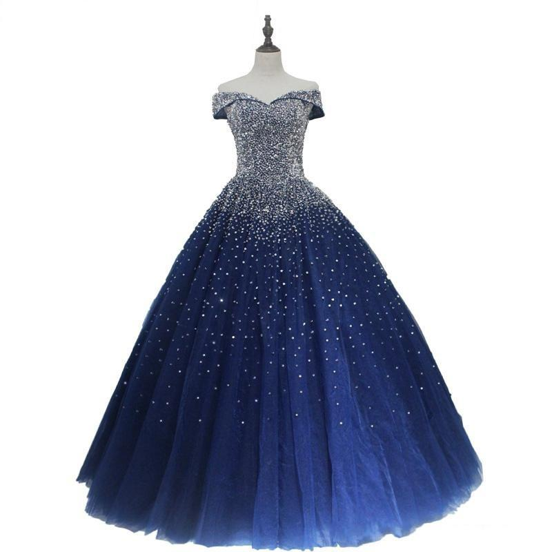 Navy Blue Ball Gown Quinceanera Dresses 2020 Off Shoulder Lace-up Back Major Beading Princess Puffy Prom Party Gowns Sweet 16 Birthday Dress