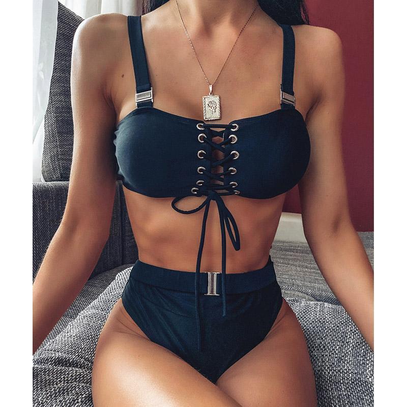 sexy 2020 mulheres cintura alta Swimsuit biquíni Push Up Bikini Set sólida Buckle fato de banho curativo duas peças swimwear Praia desgaste