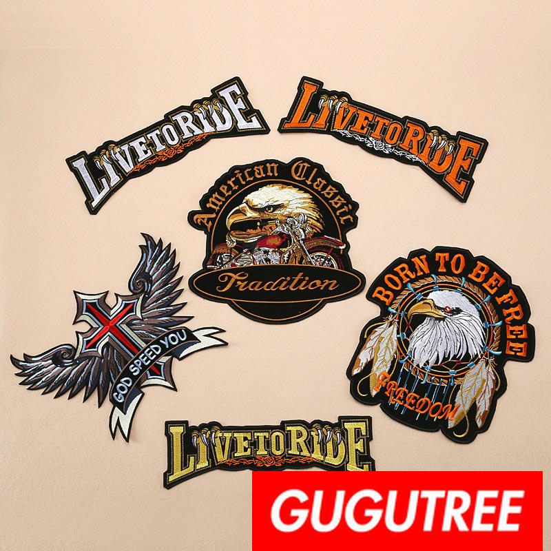 GUGUTREE embroidery big patches eagle patches badges applique patches for clothing BP-619