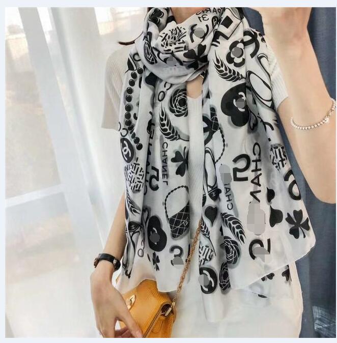 Seda de lujo de la bufanda de Pashmina de las bufandas mujeres y los hombres de alta calidad de la marca Summer Long Neck otoño Wrap 180x90cm Chales