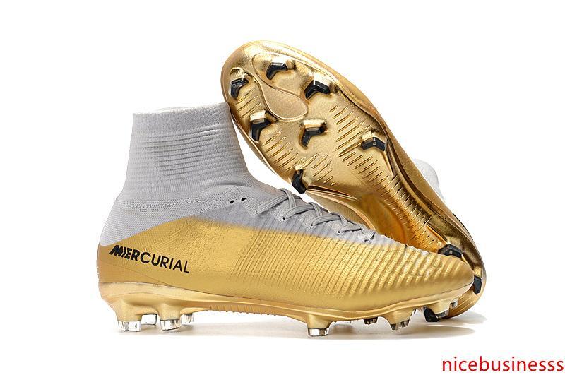 Çocuk Beyaz Altın CR7 Futbol Profilli Mercurial Superfly Çocuk Futbol Ayakkabıları Yüksek Bilek Cristiano Ronaldo Womens Futbol Boots