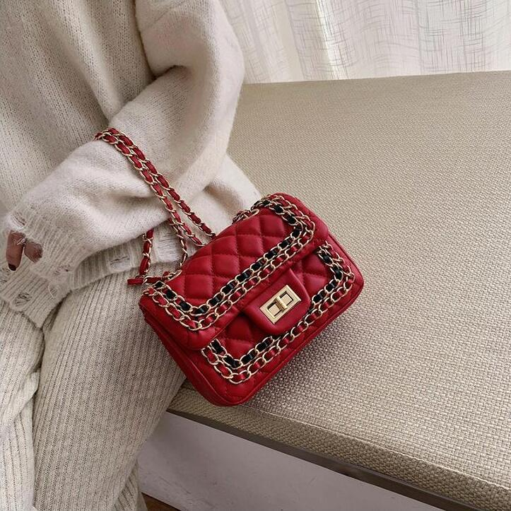 donne uscita della borsa nuova borsa classica catena di controllo di borsa strada di spalla di modo flip-maglia in pelle di tendenza signore occidentali di stile messenger bag