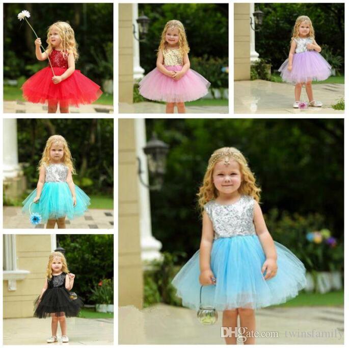 اللباس لفساتين الصيف طفلة بنات توتو اللباس الترتر الاطفال الرضع يتوهم فستان زفاف الأميرة Sleeveles حزب عارية الذراعين 5 طبقات DYP975