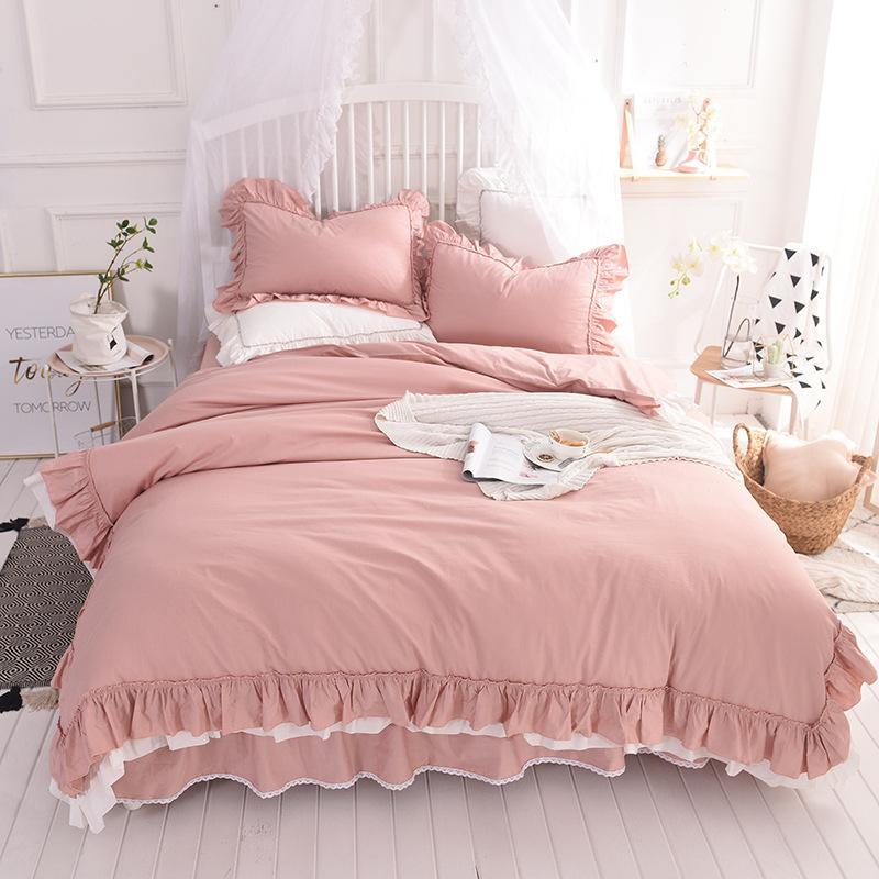 Cotton Pure Cotton Korean Princess Princess Bedding Four-piece Suite Bed Skirt Quilt Cover Quilt