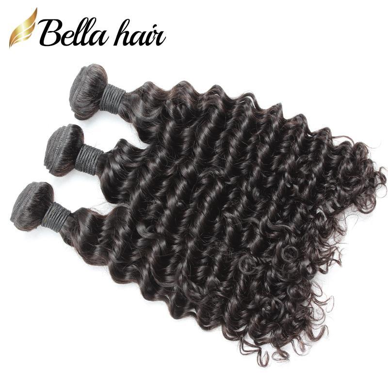 Hint Islak Ve Dalgalı Derin Dalga Saç Atkı Uzatma İnsan Saç Dokuma Doğal Renk 3pcs / lot Tam Kütikül Ücretsiz Kargo Bellahair