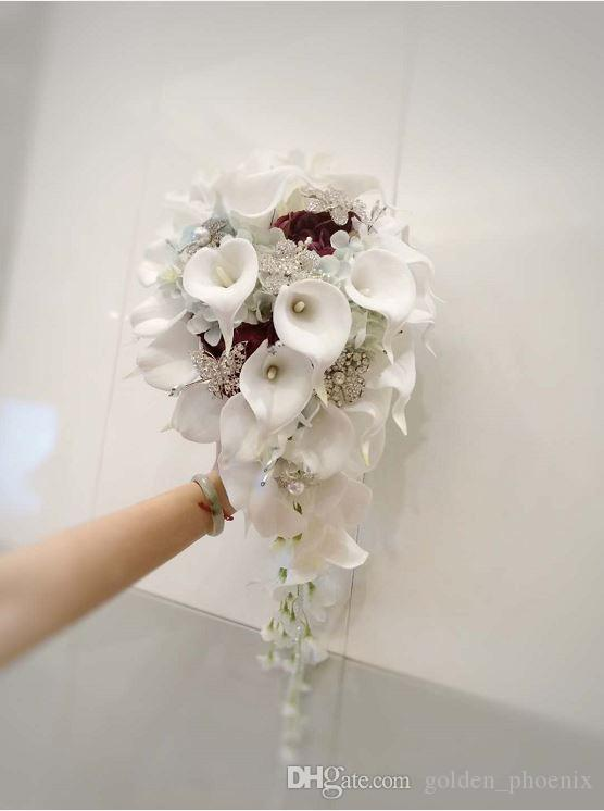2019 High End Custom Wedding Bouquet White Calla Lily Blue Wine