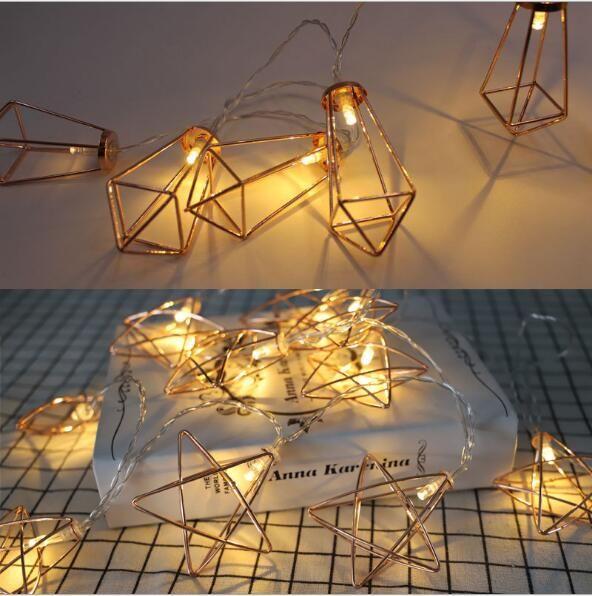 Elmas lamba dize İskandinav Basit Demir Pentagon Rose Gold Geometrik Işık Dize Ins Elmas Dekoratif Lamba