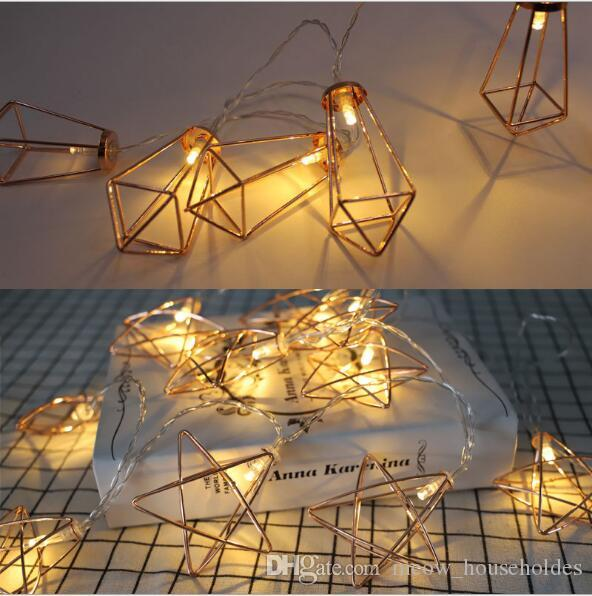 corda lâmpada diamante Nordic Simples Ferro Pentágono Rose ouro geométrico Luz Cordas Ins diamante lâmpada decorativa