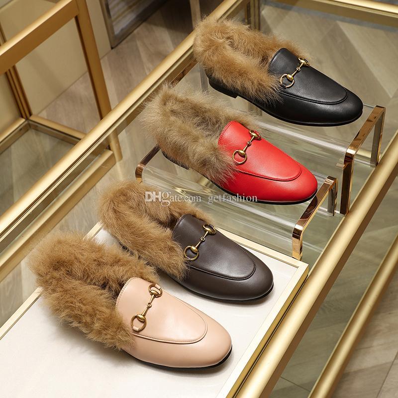 Designer Femmes Hommes velours cuir Jordaan Mocassins avec fourrure Mors boucle femmes unisexe appartements de luxe chaussures causales taille EUR34-45