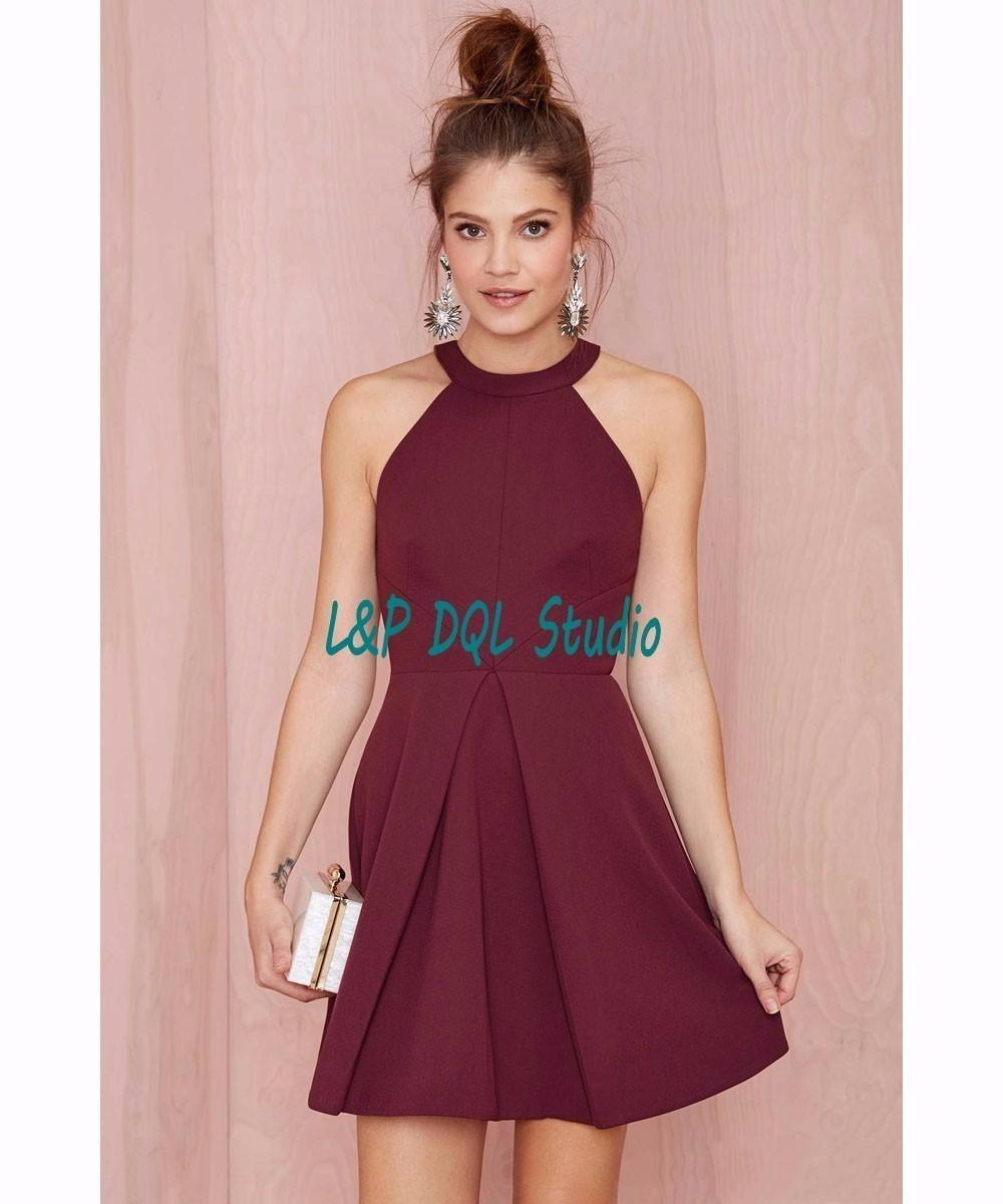 Sexy Burgundy Party Dresses Short Cocktail Dresses Summer Sexy Halter Sleeveless Backless Royal Blue/Black/Pink