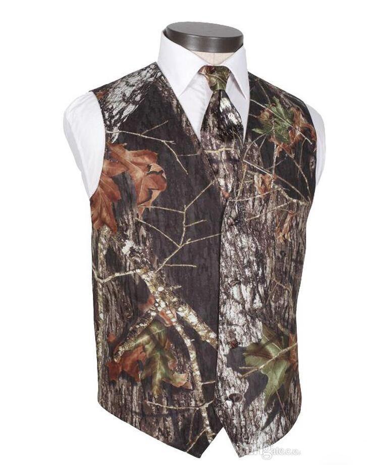 2018 Hombres Camo Impreso Novio Chalecos Chalecos de boda Realtree Spring Camouflage Slim Fit Chalecos para hombre Conjunto de 2 piezas (chaleco + corbata) Por encargo Tallas grandes