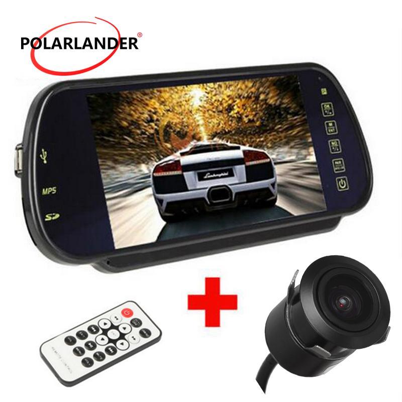 7 بوصة TFT شاشة 800 * 480 MP5 USB / SD / FM LED كاميرا الرؤية الخلفية HD عرض شاشات السيارة الخلفي مرآة وقوف السيارات نظام 12-24V المكونات في