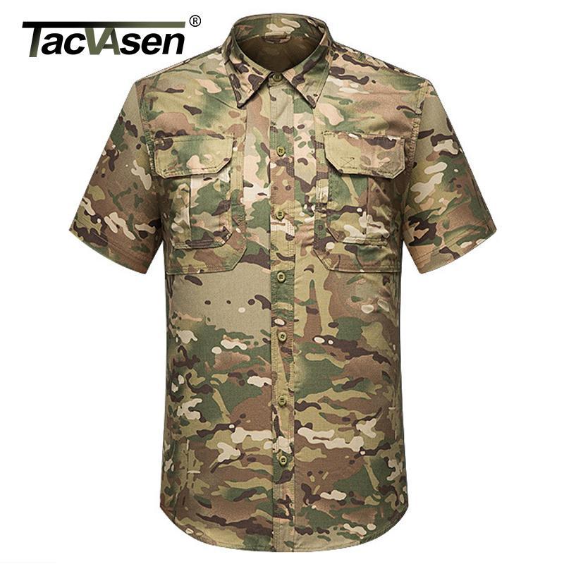 TACVASEN летний камуфляж тактический футболки мужчин с коротким рукавом быстро сухой дышащий грузовой работы мужской рубашки