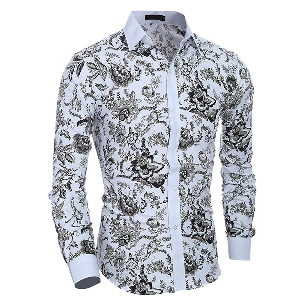 Compre Camisa De Hombre 2019 Nuevo Verano Casual Estampado De Flores De Manga Larga Slim Fit Camisa Masculina Top Blusa Tallas Grandes A $27.93 Del