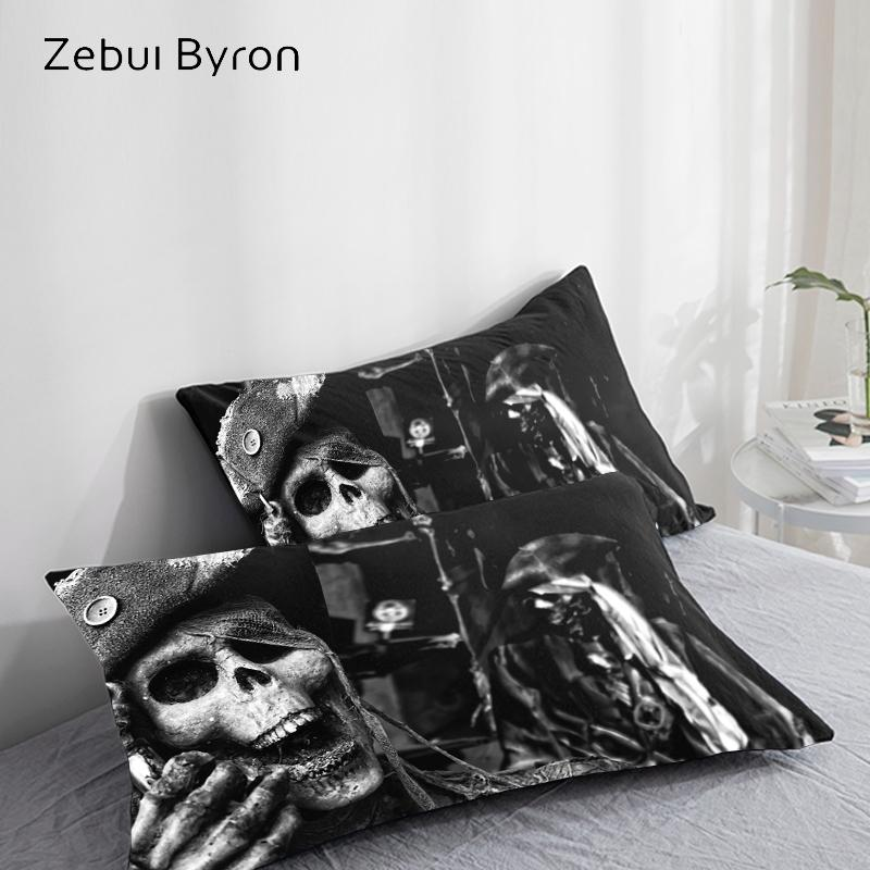 3D HD Pillow Case Pillowcase Custom/50x70/50x75/50x80/70x70,Decorative Pillow Cover,Black Skeleton Pirates Bedding pillowcases