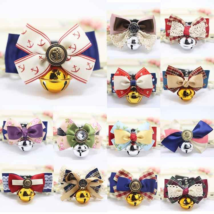 Cat Collars with Bells Bow Tie Cats Bow Tie Safety Elastic Bowtie Bell multi colors Pet supplies Puppy Kitten Bell Bowknot Collar
