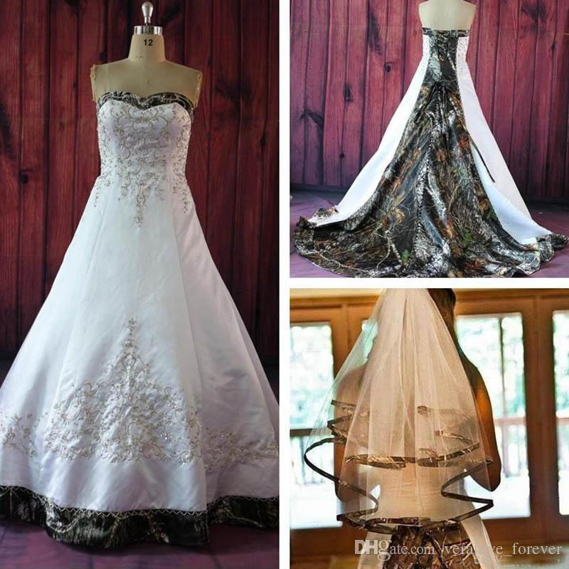 2019 A Line Camo Wedding Dresses With Embroidery Beaded Lace Up Plus Size Vintage Country Garden Bridal Dresses Wedding Gowns