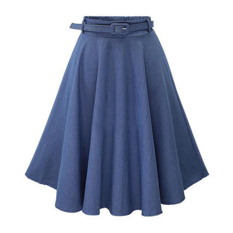 Женщины Повседневная юбка Высокая Талия средней длины джинсовая юбка тонкий тонкий A-line мода дикие юбки