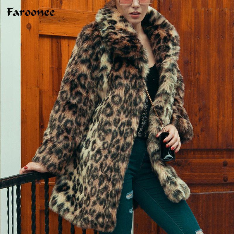 2019 mujeres Largo Leopardo Faux Piel Abrigos Invierno Cálido Peludo Mink Trench Pocket Coat Elegante Luxury Female Flow Piel Chaqueta abrigo