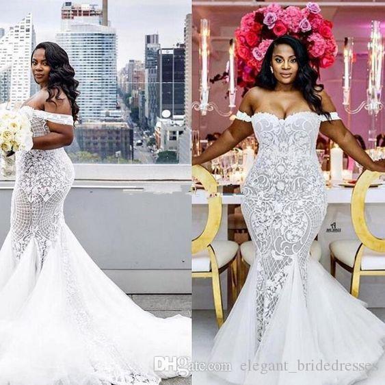Mermaid Mariage Robes 2019 Modest Plus Taille Taille de la trompette Épaule Robes de mariée Balayer Train Tulle Dentelle Robe de mariée africaine Custom