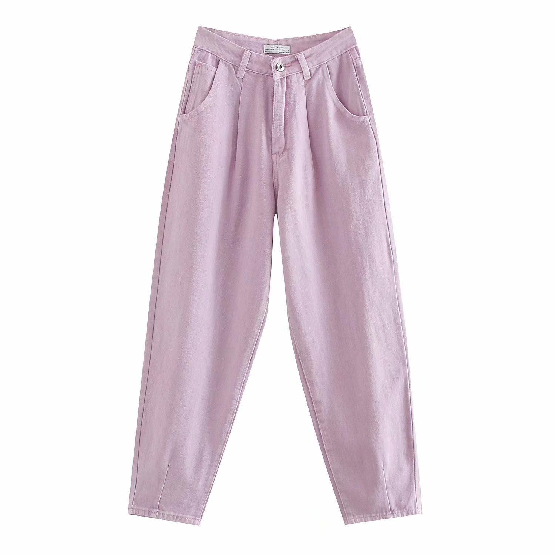 Women Fashion High Waist Darts Jeans 2020 New Chic Vintage Zipper Fly Pockets Denim Harem Pants Female Ankle Trousers Jean Clothing