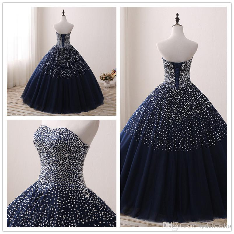 Stunning Navy Blue Prom Dress Ball Gown Tulle with Beads Sequins Lace-up Back Evening Dress Real Pictures