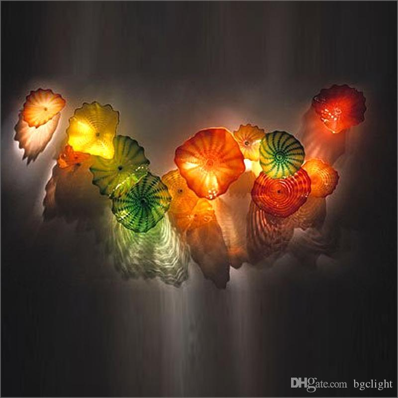 Soplado a mano las placas de cristal de Murano Flor de Placas arte de la pared azul de la flor de vidrio soplado decoración de la pared de cristal de borosilicato mano del arte