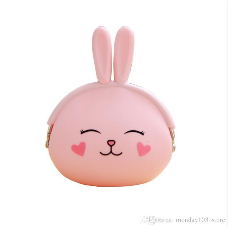 Mini Rabbit Wallet Cute Cartoon Organizer Short Purses Female Coin Purse Candy Color Printed Key Case Waterproof Small Clutch Money Bag