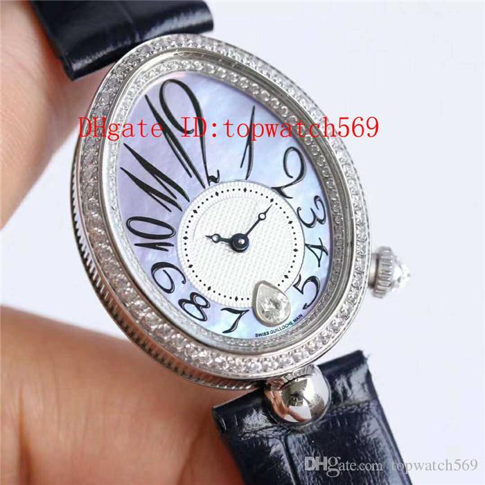 Caliente Reina de Nápoles 8918BR reloj de la mujer del reloj del diamante Cal.537 / 3 mecánico automático de la madre-de-perla Dial acero 316L caja de cristal de zafiro